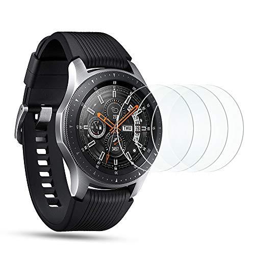 OMOTON [4 Stück] Panzerglas Schutzfolie für Samsung Galaxy Watch 46mm / Samsung Gear S3 Frontier/Gear S3 Classic,9H Härte, Anti-Kratzen, Anti-Öl, Anti-Bläschen,2.5D abger&ete Kante
