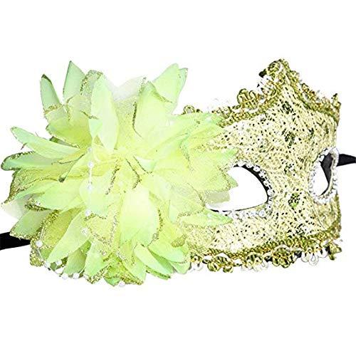 Schleier Wache Bildschirm Domino falsche Front Halloween Make-up Tanz hohlen halben Gesicht sexy Maske grün,Yellow ()