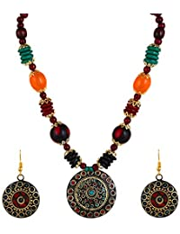 YouBella Jewellery Set for Women Tibetan Pendant Necklace with Earrings for Women & Girls (Gift) Tribal Necklace Jewellery Beads Necklace