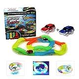 Kuultoy Autorennbahn Twister Truck Magic Tracks E-Auto Konstruktionsspielzeug Starter Set für Kinder ab 3 Jahren mit Neon Rennbahn für kreative Rennstrecken 220 Schienenteilen + 2 leuchtende Autos
