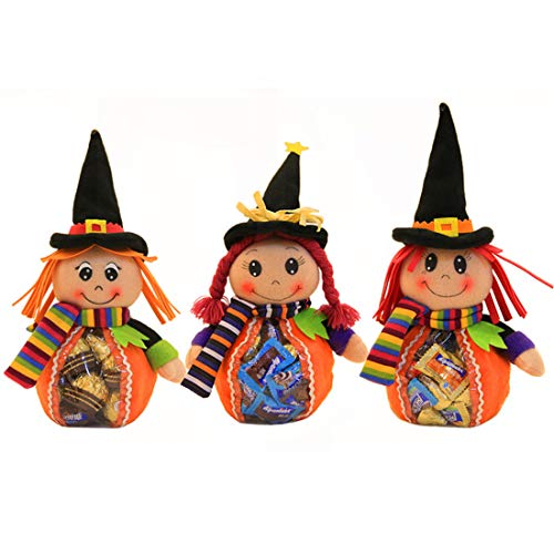 (VJUKUBWINE Halloween Tragbare Stofftasche Ghost Festival Kinder-Dekoration Requisiten Spielzeug Dress up Accessoires Kürbis Beutel Geschenktasche Candy Bag Requisiten Tasche 3 Pack)