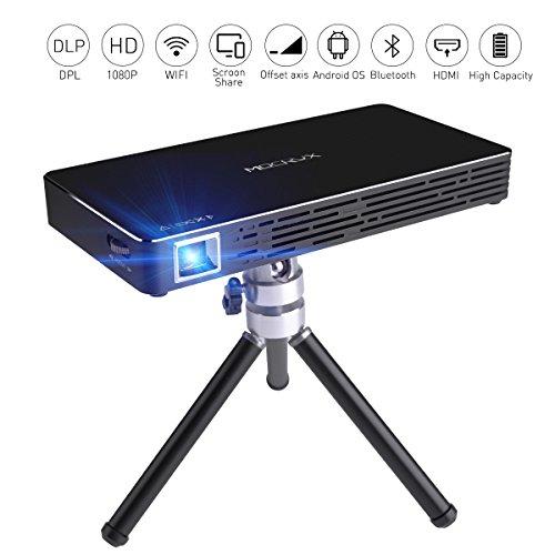 Mini Projektor, MOCRUX 100ANSI Lumen Tragbarer DLP Mini Beamer, Multimedia Heimkino Projektor unterstützt Wireless 1080P HDMI Auto Vertikaler Trapezkorrektur für iPhone Android 7.1 (Schwarz)