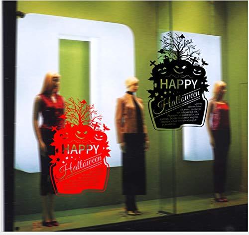 Kürbis Gesicht Kombination Fenster Schlafzimmer Wohnzimmer Kinderzimmer Wanddekoration Abnehmbare Wasserdichte Wandaufkleber 58 * 94 cm-Schwarz ()