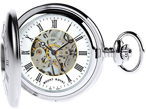 Skeleton Half Hunter Pocket Watch Chromed Plain Back - 17 Jewel Mechanical - Box (Pocket Plain Watch)