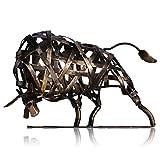 Tooarts Taureau Sculpture en Métal Fer Tressé Bovins Maison Ameublement Articles Artisanat