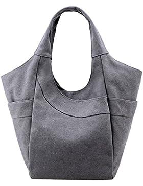 PB-SOAR Damen Canvas Shopper Schultertasche Handtasche Henkeltasche Hobo Bag Schulterbeutel Wickeltasche