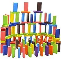 AJUGIYA's Wooden Creative Blocks Educational Buliding Game Set 100 pcs Imported Domino for Kids Standard 12 Colors (100…