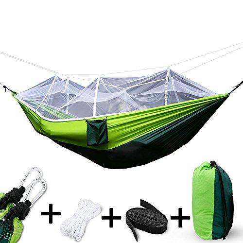Cookey Outdoor Camping Hängematte Faltbare leichte Fallschirm Stoff Doppel Hängematte mit Moskitonetz für Camping Wandern Rucksack Reise mit Moskitonetzen Hochfester 400kg Tragfähigkeit (Grün)