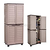 Starplast Outdoor Plastic Garden Utility Cabinet With 4 Shelves and Partition Chocolate and Mocha Garage Storage Unit Shed Rust Free 11-811