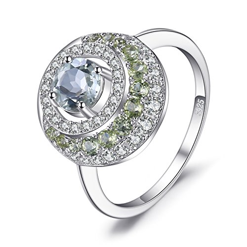 Jewelrypalace echte 1,4 ct grüne Amethyst Peridot Halo-Ring 925 Sterling Silber