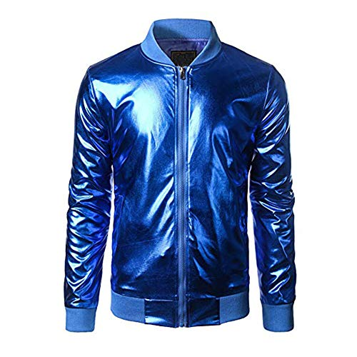 City Party Wars Star Kostüm - Igemy Nachtclub-Stil Jacke Herren Metallic Zip Up Varsity Mantel