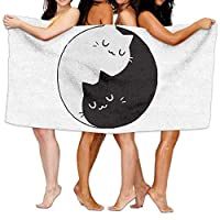 Monicago Beach Towel, Bath Towel, Quick Dry Towel Microfibre Towel, Yin Yang Cat Beach Cover Up Comfortable Swimming Bath Towel