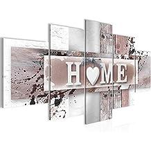 Bilder Home Herz Wandbild Vlies   Leinwand Bild XXL Format Wandbilder  Wohnzimmer Wohnung Deko Kunstdrucke Grau