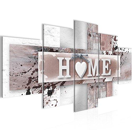 Bilder Home Herz Wandbild Vlies - Leinwand Bild XXL Format Wandbilder Wohnzimmer Wohnung Deko Kunstdrucke grau 5 Teilig -100% MADE IN GERMANY - 100 x 50 cm - Fertig zum Aufhängen 504552b Poster Abstrakte Gemälde