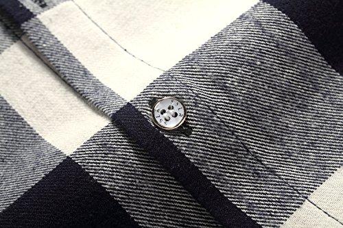 SSLR Homme Chemise à Carreaux Casual Manche Longue en Coton Gris Blanc