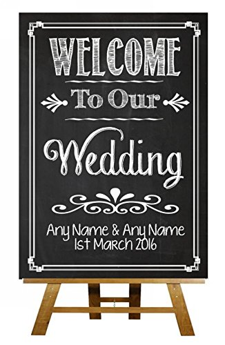 Stile Lavagna Welcome to Our Wedding, scheda di gesso Sketch Collection-stampa vintage Sign Large A3