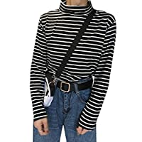 Alion Womens Long Sleeve Turtleneck Stretch Comfy Basic T Shirt Striped Top black L