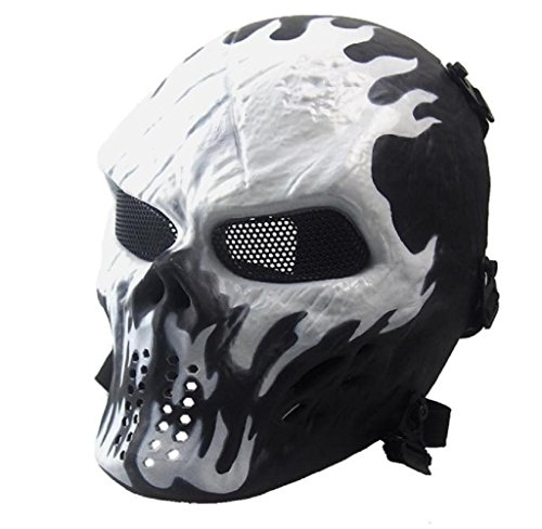 -Maske Airsoft Paintball Voll Gesicht Schädel-Skeleton CS Maske Tactical Military Mask (Weiß) (Halloween-schädel-maske)