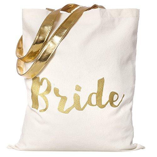 Designer-100% Baumwolle Tote (Ling´s moment Gold Glitzern Bride Tragetasche 100% Bäumwolle Braut Taschen zum Hochzeit Party Bridal Shower Braut Geschenk Beutel Säckchen)