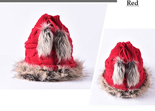 Multi-function Hat&Scarf Trendy Warm Chunky Soft Knit Slouchy Beanie Scarves red