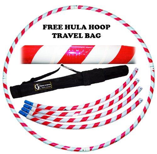 Pro Hula Hoop Reifen Erwachsene (Weiß/Rosa UV) Zerlegbarer 4 piece Travel Hula Hoop für Training u. Tanz HoopDance - Größe 100cm, Gewicht 650g