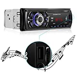 LESHP 1 Din Autoradio Bluetooth Mp3 Player Auto mit Fernbedienung USB / SD+Aux+4X60W Auto Audio+Stereo FM/AM Radio+Freisprechfunktion Integriertes Mikrofon + Equalizer