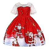 Riou Weihnachten Baby Kleidung Set Kinder Pullover Pyjama Outfits Set Familie Kleinkind Kinder Baby Mädchen Santa Print Prinzessin Kleid Partykleid Weihnachten (1120, Rot C)