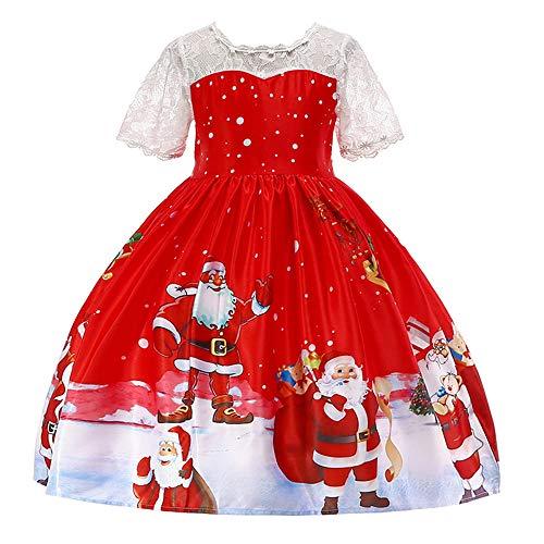 Riou Weihnachten Baby Kleidung Set Kinder Pullover Pyjama Outfits Set Familie Kleinkind Kinder Baby Mädchen Santa Print Prinzessin Kleid Partykleid Weihnachten (150, Grün)
