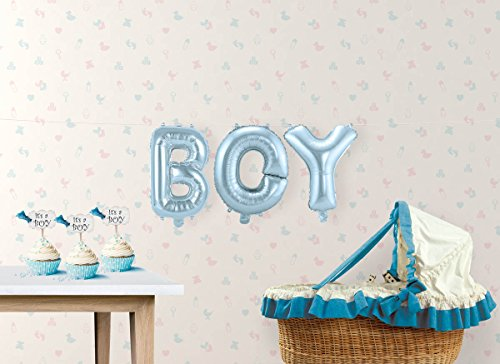 Ballon-Set Boy Folienballon Babyparty Babyshower Buchstaben-Ballons mit Palandi® Sticker