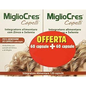 F&F 53070 MiglioCres Linea Capelli, Integratore Alimentare, 60+60 Capsule Promo 11 spesavip