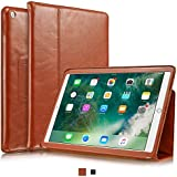 """KAVAJ iPad Case 2017 Leather Cover """"Berlin"""" for Apple iPad 2017 Cognac-Brown Genuine Cowhide Leather with Built-in Stand Auto Wake/Sleep Function. Slim Fit Smart Folio covers iPad 5th Gen. Model"""
