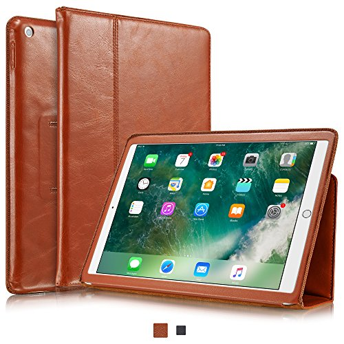 KAVAJ-iPad-Case-2017-Leather-Cover-Berlin-for-New-Apple-iPad-Black-or-Cognac-Brown-Genuine-Cowhide-Leather-with-Built-in-Stand-Auto-WakeSleep-Function-Slim-Fit-Smart-Folio-covers-iPad-New-Model