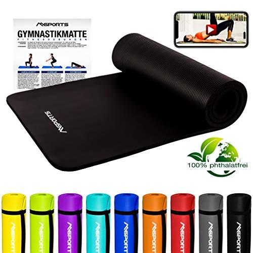 MSPORTS Gymnastikmatte Premium inkl. Tragegurt + Übungsposter + Workout App GRATIS I Fitnessmatte Schwarz - 190 x 60 x 1,5 cm Hautfreundliche Phthalatfreie Yogamatte