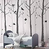 Buche Baum Wald Kinderzimmer Wand Schablone Packung Erschaffe ein maßgeschneidert gemalt Wandbild von Birke Bäume & Vögel in ihrem Kinderzimmer Heim Dekor Wand schablonen