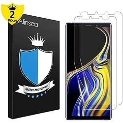 Alinsea Galaxy Note9 Protection écran,Note9 Protection écran[Couverture Full HD] [sans Bulles] [Haute sensibilité] [Anti-Rayure] Film Ultra Mince Plastique Appliqué pour Samsung Galaxy Note9[2 Pièce]