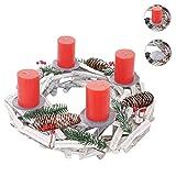 Mendler Adventskranz Rund, Weihnachtsdeko Tischkranz, Holz Ø 40cm weiß-Grau ~ mit Kerzen, Rot