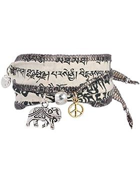 Anisch de la Cara Damen Wunsch-Armband Wind Elephant tibetische Gebetsfahne weiss, ta-wind-elephant