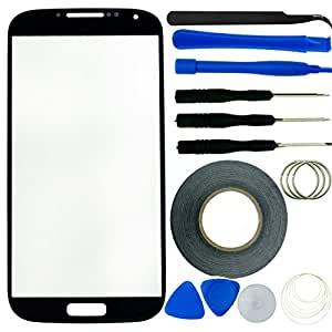 Samsung Galaxy S4 Screen Replacement Kit including 1 Replacement Screen Glass for Samsung Galaxy S4 i9500 / 1 Pair of Tweezers / 1 Roll of 2mm 3M Adhesive Tape / 1 Tool Kit / 1 ECO-FUSED Microfiber Cleaning Cloth (Black)