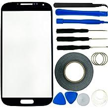 ECO FUSED - Kit de sustitución de pantalla para Samsung Galaxy S4 i9500 (pinzas, rollo de cinta adhesiva de 2 mm, kit de herramientas, gamuza de microfibra), color negro