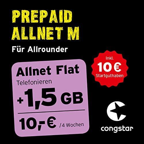 congstar Prepaid Allnet M Paket [SIM, Micro-SIM und Nano-SIM] – Das Prepaid-Paket für Allrounder in Bester D-Netz-Qualität