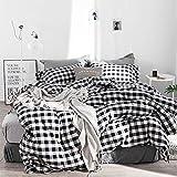 Kexinfan Bettbezug Washed Baumwolle Vierteilig Baumwolle Plaid Bett Windbett Einfache Baumwollbettwäsche, Bettwäsche, Edward, 1,8 M (6 Fuß) Bett