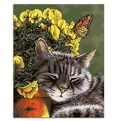 GUOXIN12 Heißer DIY malerei rahmenlose Bild malerei by Zahlen Handarbeit zeichnen auf leinwand wandaufkleber Tier Schlaf kätzchen , gerahmt 40x50 cm -