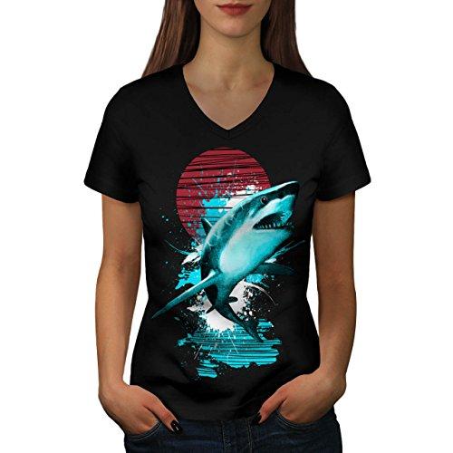 Groß Weiß Hai Ozean Jagd Damen L V-Ausschnitt T-shirt | Wellcoda (Türkei-jagd-t-shirt)