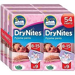 DryNites Girl hochabsorbierende Pyjamahosen Unterhosen für Mädchen 8-15 Jahre, 3er Pack (3x 9 Windeln)