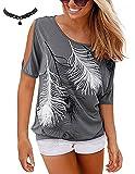 BUOYDM Damen T-Shirt mit Elfe Drucken Schulterfrei Kurzarm Shirt Oberteil Tops (M, Grau)
