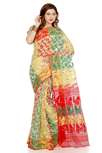 B3Fashion Women's Dhakai Jamdani Saree (Ags576_Beige)