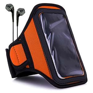 VanGoddy Armband Titan Orange Neoprene Sweat-proof w/ Key & ID Card Pouch fits Samsung : Galaxy ( J5 , A8 , S5 Neo , ON5 , ON7 , A7 , A5 ), Z3 Smartphones + Black Earbuds with Mic