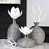Vase Miro Keramik silber Oberflächenstruktur matt/glänzend silbernem Vasenhals, Deko, Blumen (Schlank hoch (links))