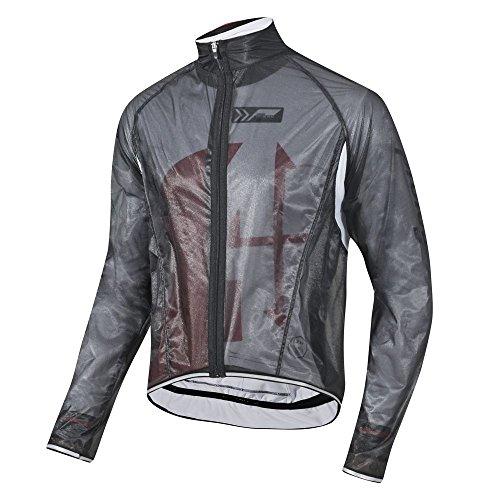 prolog cycling wear Transparente Regenjacke extrem dünn, elastisch und wasserdicht, atmungsaktiv für Damen, Herren, Kinder in schwarz, weiß oder neon gelb (schwarz, Kinder XS - 164)