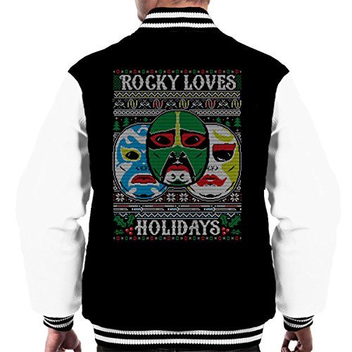 3 Ninjas Masks Holidays Christmas Knit Pattern Men's Varsity Jacket (Tum Tum Colt Rocky)
